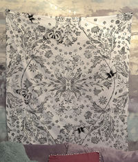 Floral Black and White Distressed Flowers Mandala Tapestry Wall Hanging Meditation Yoga Grunge Hippie $35.00