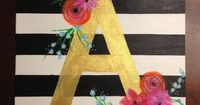 Chic Letter Striped Painting on Etsy, $35.00
