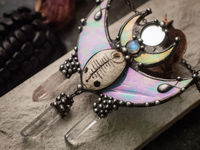 Pendant- Dreamer. Necklace with clay mask, natural moonstone, quartz cerystal. Shaman ( shamanic ) jewelry, steampunk pendant, witchcraft $58.00