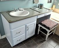 an old shutter turned into a bathroom counter. neat!