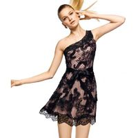 Charming A-line One Shoulder Lace Short/Mini Tulle&Stretch Satin Cocktail Dresses - Dressesular.com