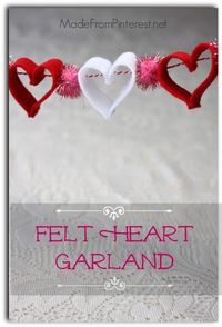 This Felt Heart Garland is easy to do and stinkin' cute! Great way to hang some love for Valentine's Day!