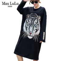 Max LuLu Luxury Korean Brand Fashion Girls Tiger Streetwear Womens 3d Diamonds Dresses Casual Loose Vestidos Woman Sequins Dress $32.38