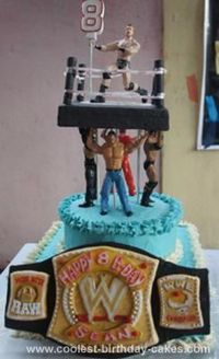 """Homemade WWE Birthday Cake: I made this WWE Birthday cake for my nephew's 8th birthday. He is an avid WWE fan and wished for 3 things on his birthday cake �€"""" the championship belt,"""