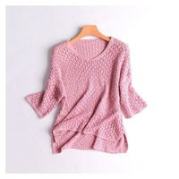 Oversized Asymmetrical Hollow Out Crochet Slimming One Color Flexible Knitted Sweater Top Sweater - Discount Fashion in beenono