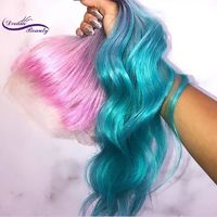Glueless omber pink Green Wig $570.40