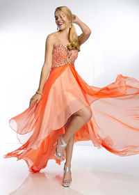 Beaded Top High Low Coral Chiffon Prom Dresses