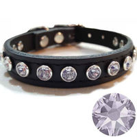 Small Dog or Cat Bling Collars | Black Leather & Light Purple Swarovski Crystal Rhinestones $28.00
