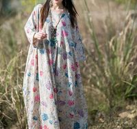 Women Floral Maxi Flare Dress, loose fitting dress, High waist dress, Bridal dress