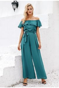 Price: $36.79 | Product: Elegant Sexy off shoulder Summer ruffles sashes chiffon party long jumpsuit | Visit our online store https://ladiesgents.ca