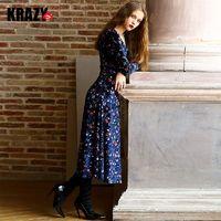Elegant Vintage Printed Slimming Curvy V-neck Lace Up Velvet Dress - Bonny YZOZO Boutique Store