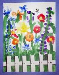 masking tape was used for the fence....the rest is finger painting techniques. You can also get a special kind of tape at art supply stores that comes off paper really easy. So cute!