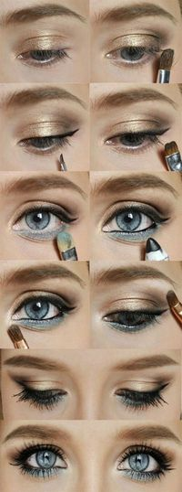 Gold and blue eyeshadow | eHow