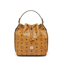 MCM Small Essential Visetos Drawstring Bag In Brown
