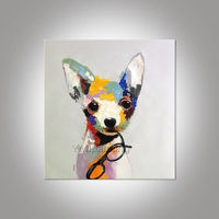 Dog canvas paintings on canvas acrylic pet painting pop art animals painting extra large wall art home decor hand-painted abstract painting $69.00