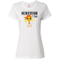 Leukemia Survivor Chick shirts, apparel and unique gifts featuring our originally illustrated cancer fighter chick wearing a head scarf and an awareness ribbon to support her cause