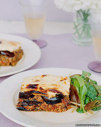 Moussaka (Eggplant, tomato sauce, and a yogurt topping)