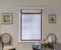 Custom White Red Border Flat Roman Shade With Valance $97.00