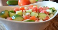 Tomato, Cucumber and Onion Salad... Ingredients 1 English cucumber, peeled and diced into quarter inch chunks 1 cup of grape tomatoes, halved 1 shallot, diced 2 tsp. Italian salad dressing dry mix 2 limes, juiced 3 tbsp. olive oil Whisk dressing mix, lime...