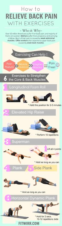 """Experiencing lower back pain? We've got a simple routine consisting of 6 exercises that will make your back feel better �€""""No equipment needed. Learn how to allev"""