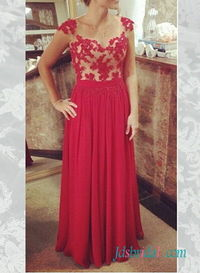 Red lace appliques chiffon long prom dress 2016