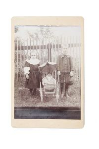 Antique Cabinet Photo of Siblings. Brother and Sister with Porcelain Doll Wicker Baby Buggy Photography Fashion Vintage Photograph CC#10006 $15.00
