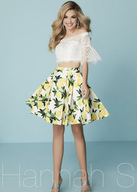 Cute Two Piece Lace Short Bell Sleeves Ivory Lemon Print Homecoming Dress