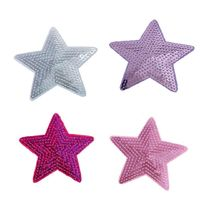 Pack of 3 Different Colours Fabric & Sequin Stars. 9cm Sew On Patches. Christmas Appliques £3.59