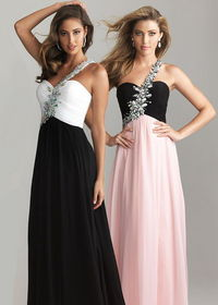2014 Beaded One Shoulder Long Prom Dresses Cheap
