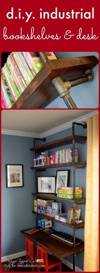 Give your workspace storage and style with this tutorial for industrial pipe shelves and built-in desk -- great for kids and adults, too.