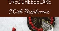 The Best Oreo Cheesecake is an easy cake topped with oreo crumbs and fresh raspberries. Great for dessert, brunch, birthday parties or Mother's Day! Video recip
