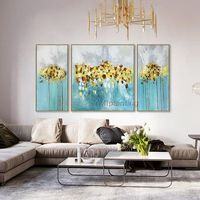 3 pieces wall art Original Yellow Flowers Abstract Acrylic Painting On Canvas blue wall decor Pictures for living Room Cuadros abstractos $292.94