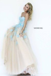 Floral Lace Sherri Hill 11200 Blue Nude Ball Gown Dress