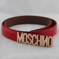 Moschino Gold Logo Bucket Womens Patent Leather Belt Red