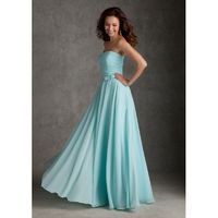 Elegant A-line Strapless Bow(s) Ruching Floor-length Chiffon Bridesmaid Dresses - Dressesular.com