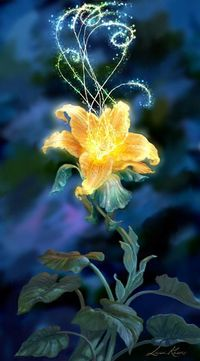 A drop of golden sun blooms into a gorgeous glowing flower