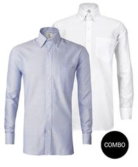 Blue Oxford and White Twill Button Down Shirt Combo Pack �'�2499.00
