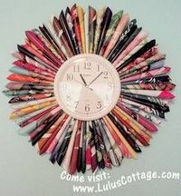 Isn't this wonderful? Roll up a bunch of colorful magazine pages and make a boring wall clock into something special.