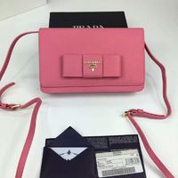 Prada 1M1361 Bow Logo Saffiano Leather Wallet In Pink