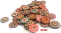 Pack of 50 Assorted Mix of 20mm Wood Round Pattern Floral Buttons. 2cm Wooden Autumn Funky Discs £6.99