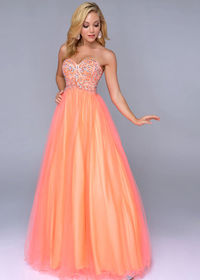 2014 Strapless Neon Orange Beaded Top Cheap Ball Gown