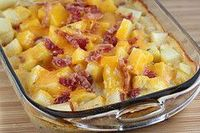 Ranch Potatoes- 8-10 medium potatoes, 1 can cream of mushroom soup (or cream of chicken), 1 1/2 cup milk, 1 envelope ranch dressing mix, 2 cups shredded cheddar cheese, salt and pepper and 6 bacon slices.