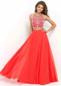 Halter-style Bodice Two Piece Persimmon Beaded Flared Full-length Dres