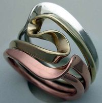 Ring | Isidro Nilsson. Sterling silver, pure copper, 14k gold