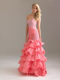 Pink Straples Long Layered Mermaid Sequin Night Moves style6425 Prom Gown