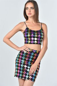 20% discount with BESTDEAL at checkout! Ladies fashion dark multi color geo print top and skirt two piece set $29.00