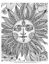 Abstract sun Coloring Pages For Adults Stencils colors adult colors