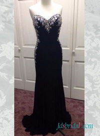 Sexy open back sparkles crystals accents prom dress