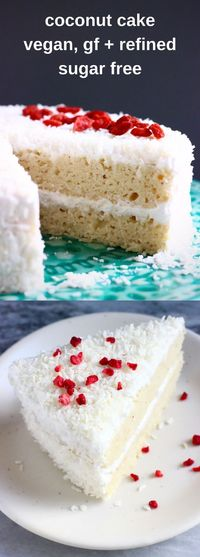 This Gluten-Free Vegan Coconut Cake is moist and fluffy, sweet and creamy and wonderfully coconutty! Refined sugar free too.