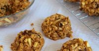Healthy Oatmeal Apple Raisin Cookies (1 C whole wheat flour, 2 C whole oats, 1 tsp baking powder, 1/2 tsp baking soda, 1/4 tsp sea salt, 1 tsp cinnamon, 1 egg, 2 Tbsp canola oil, 3/4 C sugar (or 1/2 C agave), 1 C applesauce, 1 tsp vanilla, 1 a...